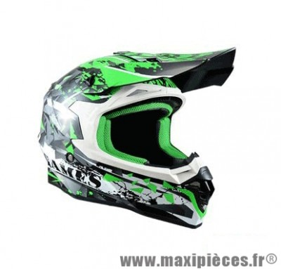Casque Moto Cross marque Trendy 17 T-901 X-Games Noir/Blanc/Vert Verni taille XS (53-54cm)