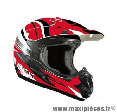 Casque Moto Cross taille XL marque ON/OFF 17 Whoops Rouge Verni (61-62cm)