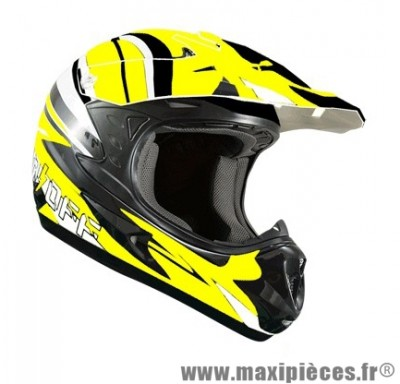 Casque Moto Cross marque ON/OFF 17 Whoops Jaune Fluo Verni taille L (59-60cm)