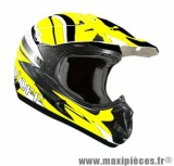 Casque Moto Cross marque ON/OFF 17 Whoops Jaune Fluo Verni T63 taille XXL (63-64cm)