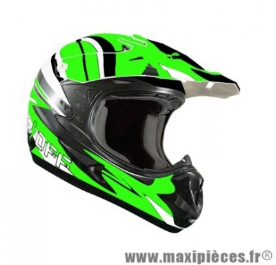 Casque Moto Cross marque ON/OFF 17 Whoops Vert Fluo Verni taille L (59-60cm)
