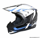 Casque Moto Cross taille S marque MT Synchrony Steel Noir/Blanc/Bleu (55-56cm)