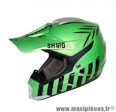 Casque Moto Cross marque Shiro MX-305 Scorpion Vert Metal taille M (57-58cm)