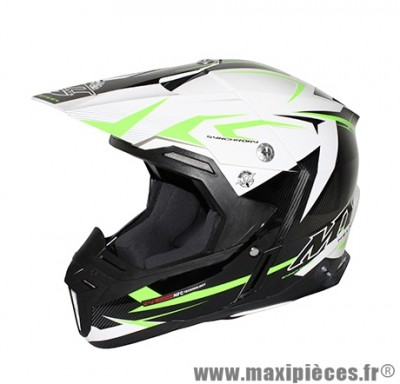 Casque Moto Cross taille XL marque MT Synchrony Steel Noir/Blanc/Vert (61-62cm)