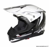 Casque Moto Cross marque MT Synchrony Steel Noir/Blanc/Gris taille M (57-58cm)