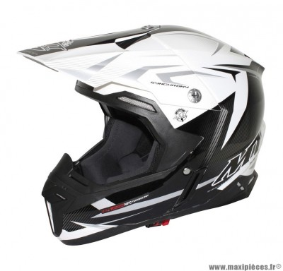 Casque Moto Cross taille XL marque MT Synchrony Steel Noir/Blanc/Gris (61-62cm)