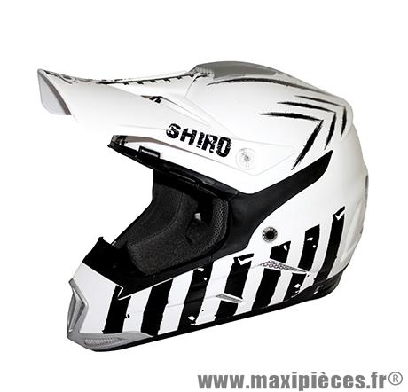 Casque Moto Cross taille XL marque Shiro MX-305 Scorpion Blanc (61-62cm)