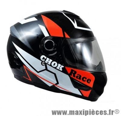 Casque Intégral marque Chok Race 16 double écran Noir/Rouge Verni taille XS (53-54cm)