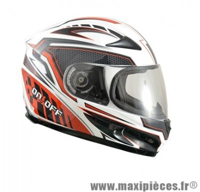 Casque Intégral marque ON/OFF 17 R-Racer Rouge/Blanc Verni taille L (59-60cm)