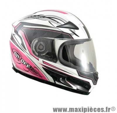 Casque Intégral marque ON/OFF 17 R-Racer Lady Rose/Blanc Verni taille L (59-60cm)