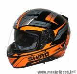 Prix spécial ! Casque Intégral marque Shiro SH-715 Austin double écrans Orange taille L (59-60cm)