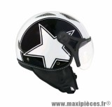 Casque Jet/Bol marque TNT Helios Star Blanc/Noir Brillant taille XS (53-54cm) SB13B