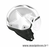 Casque Jet/Bol marque TNT Helios Star Argent/Blanc Brillant taille XS (53-54cm)