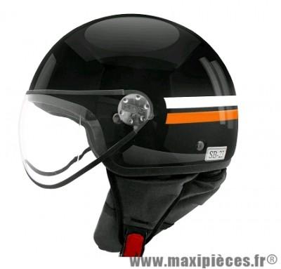 Casque Demi-Jet marque TNT Puck Brillant taille XS (53-54cm) Noir/Blanc/Orange