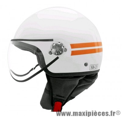 Casque Demi-Jet marque TNT Puck taille L (59-60cm) Blanc/Orange Brillant