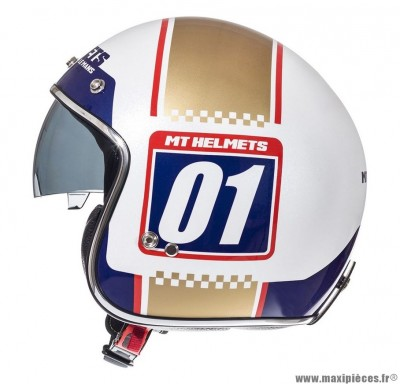 Casque Jet/Bol marque MT Le Mans SV Numberplate Blanc Perle Brillant-Or taille XS (53-54cm)