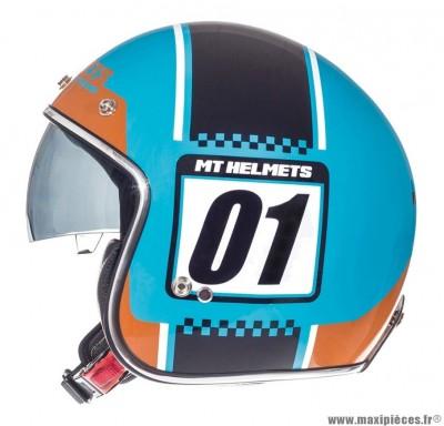 Casque Jet/Bol marque MT Le Mans SV Numberplate Bleu Brillant-Orange taille XS (53-54cm)
