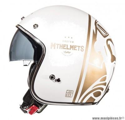 Casque Jet/Bol marque MT Le Mans SV Divenire Blanc Perle Brillant-Or taille L (59-60cm)