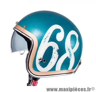 Casque Jet/Bol taille S marque MT Le Mans SV Hipster Vert Militaire Brillant-Camel (55-56cm)