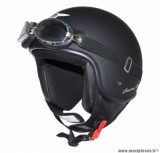 Casque Jet/Bol marque MT Custom Rider Noir Mat taille XS (53-54cm) (Livré avec Lunette)