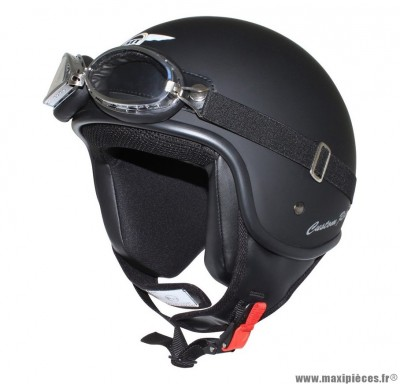 Casque Jet/Bol marque MT Custom Rider Noir Mat taille M (57-58cm) (Livré avec Lunette)