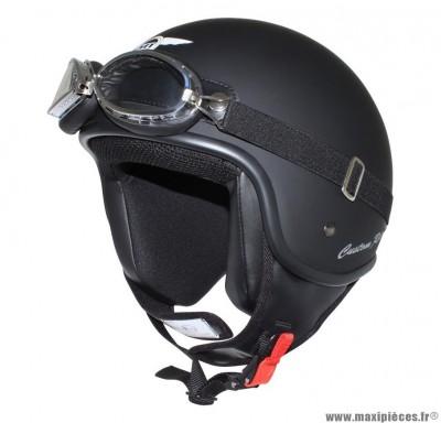 Casque Jet/Bol marque MT Custom Rider Noir Mat taille L (59-60cm) (Livré avec Lunette)