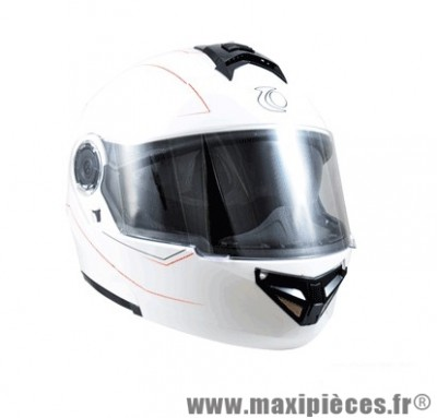 Casque Moto Scooter Modulable taille XL marque Trendy 17 T-701 Palma Blanc Verni (61-62cm)
