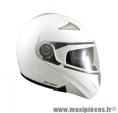 Casque Moto Scooter Modulable marque ON/OFF 17 Blanc Nacre Verni taille L (59-60cm)