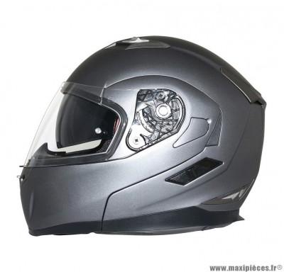 Casque Moto Scooter Modulable taille S marque MT Flux double écrans Gris Titanium Mat (55-56cm)