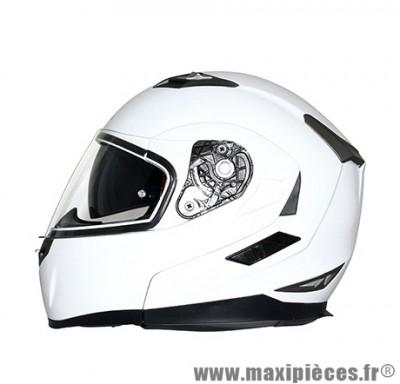 Casque Moto Scooter Modulable marque MT Flux double écrans Blanc Brillant taille M (57-58cm)