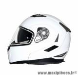 Casque Moto Scooter Modulable marque MT Flux double écrans Blanc Brillant taille L (59-60cm)