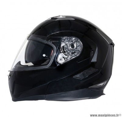 Casque Moto Scooter Modulable taille XL marque MT Flux double écrans Noir Brillant (61-62cm)