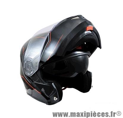 Casque Moto Scooter Modulable marque Trendy 17 T-701 Palma Noir Verni taille XS (53-54cm)