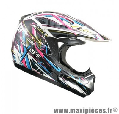 Casque Moto Cross Enfant taille YL (52cm) ON/OFF 17 Switch Verni