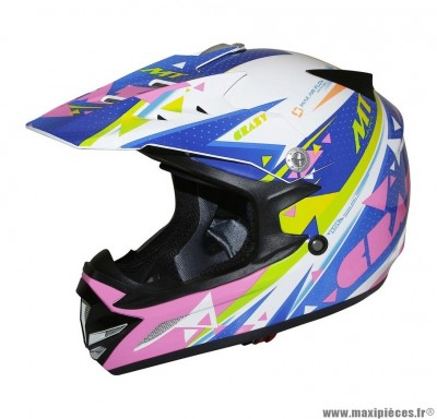 Casque Moto Cross Enfant taille YM (49-50cm) MT MX2 Crazy Multicolor