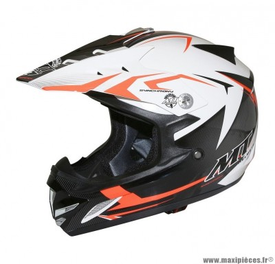 Casque Moto Cross Enfant taille YM (49-50cm) MT MX2 Steel Noir/Blanc/Orange