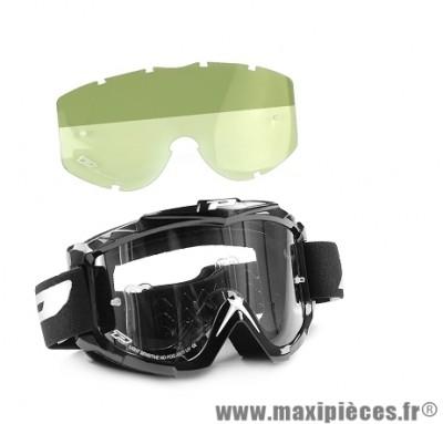 Masque Cross Moto marque Progrip 3301 Noir + Verre Sensitive