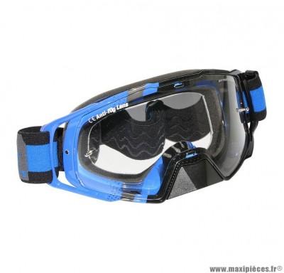 Lunette-Masque Cross marque MT Mx Evo Bleu (Écran transparent anti-buée + fixation Tear Off)