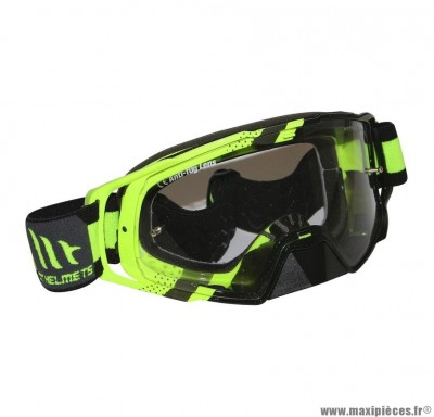 Lunette-Masque Cross marque MT Mx Evo Jaune Fluo (Écran transparent anti-buée + fixation Tear Off)