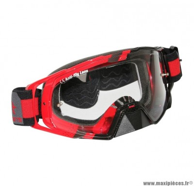 Lunette-Masque Cross marque MT Mx Evo Rouge (Écran transparent anti-buée + fixation Tear Off)