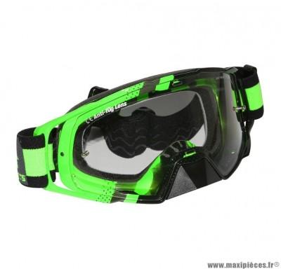 Lunette-Masque Cross marque MT Mx Evo Vert Fluo (Écran transparent anti-buée + fixation Tear Off)