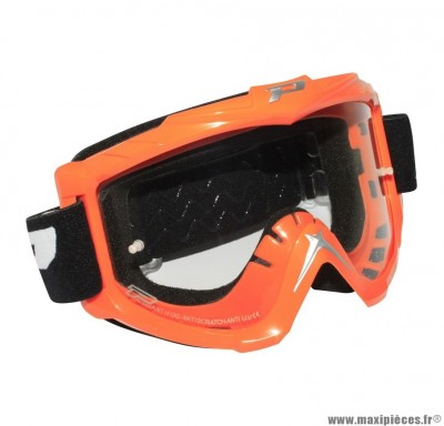 Lunette Cross marque ProGrip 3301 Orange Écran transparent anti-rayures/anti-buée