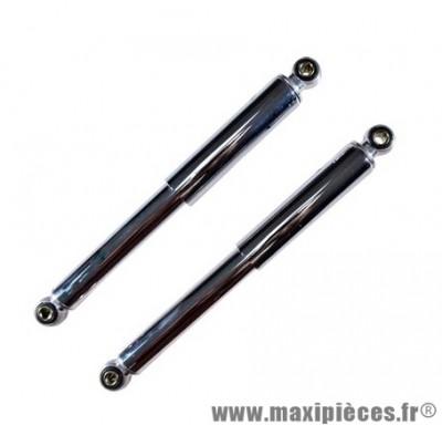 Paire d'amortisseurs cyclo entraxe 320mm chrome lisse type origine peugeot 103