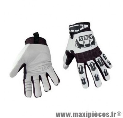 Gants Été marque Steev Riders Blanc/Noir taille XXL / T12