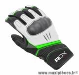 Gants Mi-Saison ADX Xrun taille XXS / T6 Noir-Blanc-Vert (Cuir-textile + coque de protection)