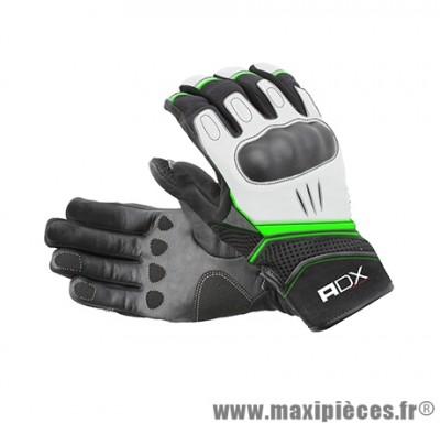 Gants Mi-Saison marque ADX Xrun Noir-Blanc-Vert taille XS / T7 (Cuir-textile + coque de protection)