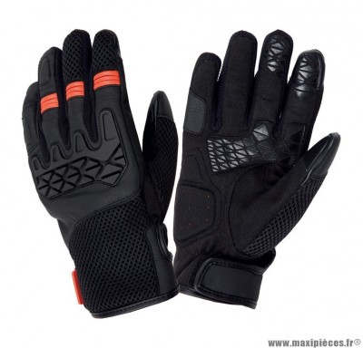 Gants Printemps-Été marque Tucano Dogon Noir-Orange taille L / T10 (Compatible écran tactile)