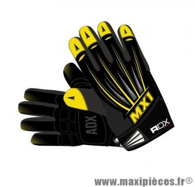 Gants Cross marque ADX MX1 Lazyboy Jaune taille XXL / T12 (Dessus textile, dessous cuir synthétique amara)