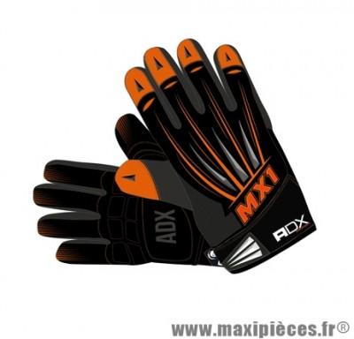 Gants Cross marque ADX MX1 Lazyboy Orange taille XXL / T12 (Dessus textile, dessous cuir synthétique amara)