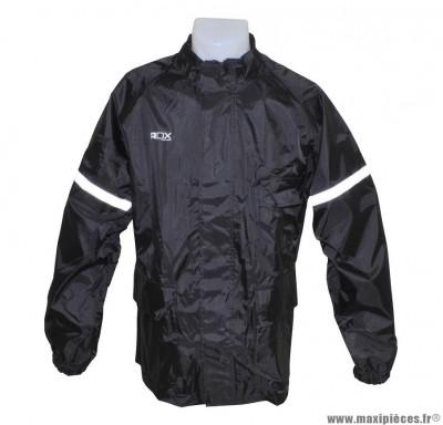 Veste de pluie marque ADX Eco Noir taille XL (Doublure + bande réfléchissante + col velours + gouttière + soufflet dorsale pour éviter le flottement en roulant...)